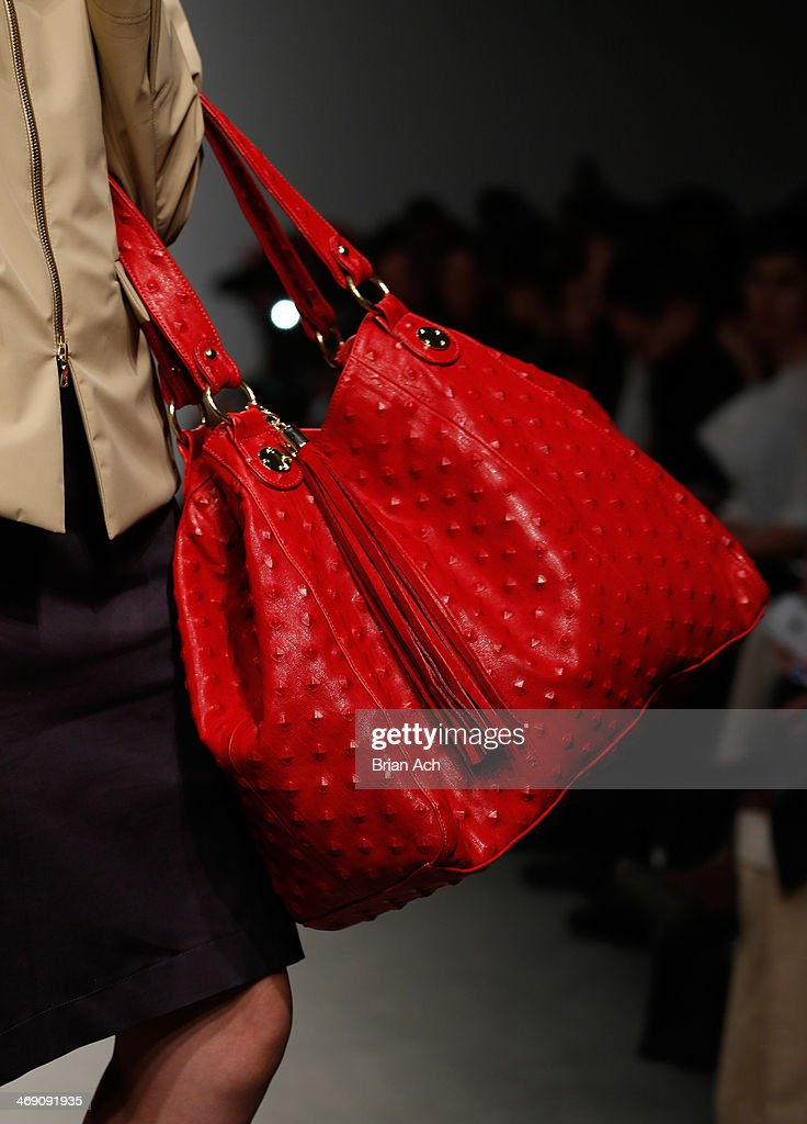 A model walks the runway (bag detail) at the Jungwon show during Nolcha Fashion Week New York Fall/Winter 2014 at Pier 59 on February 12, 2014 in New York City.