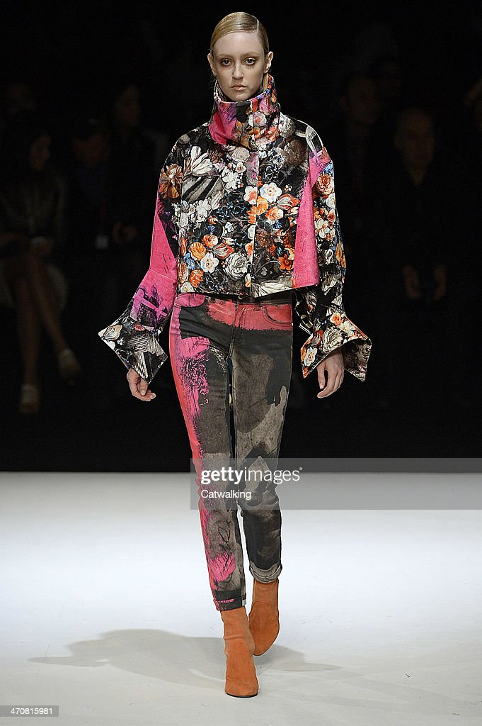 A model walks the runway at the Just Cavalli Autumn Winter 2014 fashion show during Milan Fashion Week on February 20 2014 in Milan Italy