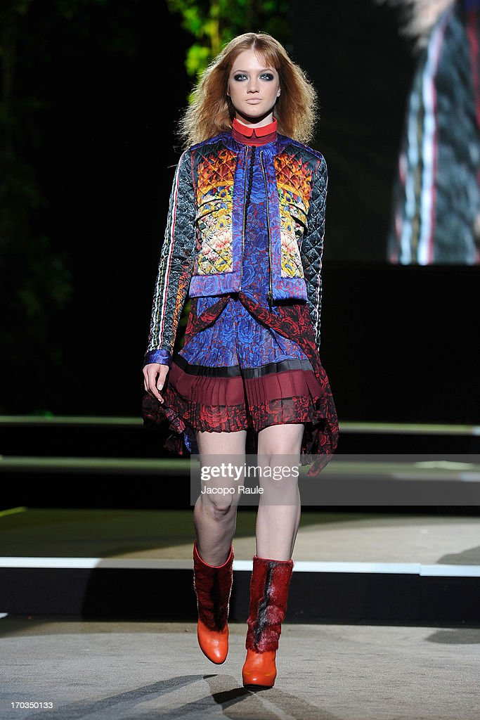 A model walks the runway at the Just Cavalli fashion show during Glamour Live Show on June 11, 2013 in Milan, Italy.