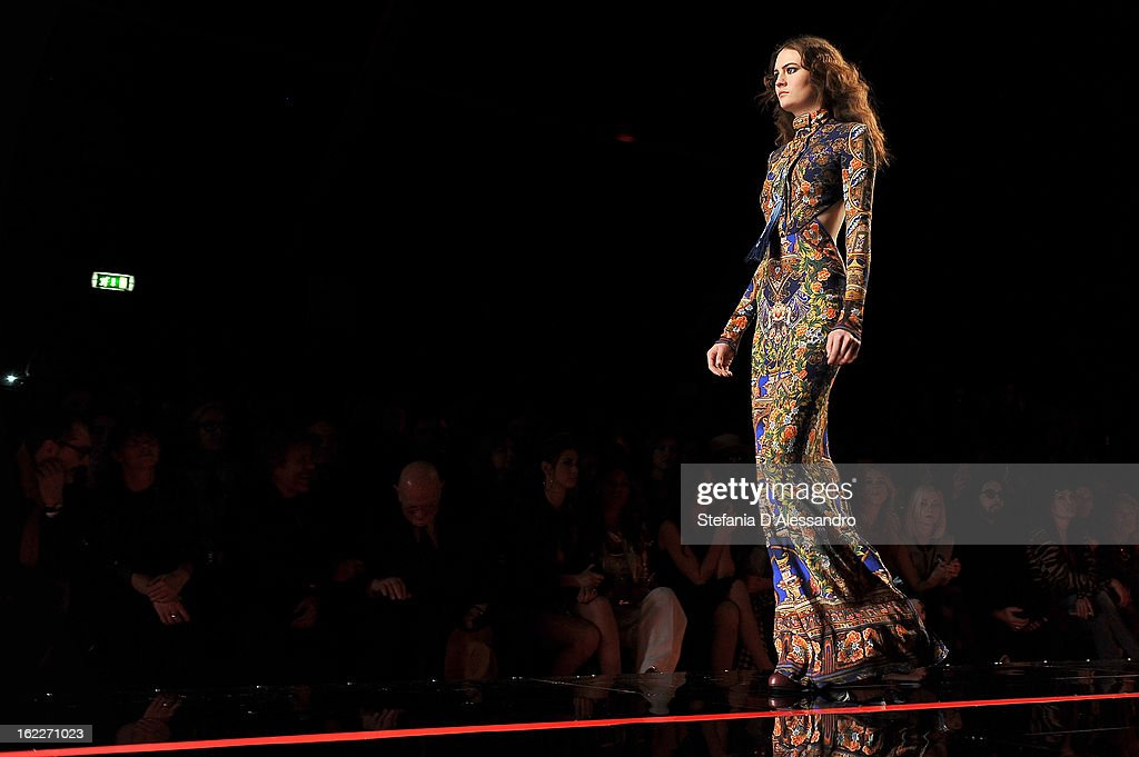 A model walks the runway at the Just Cavalli fashion show during Milan Fashion Week Womenswear Fall/Winter 2013/14 on February 21, 2013 in Milan, Italy.