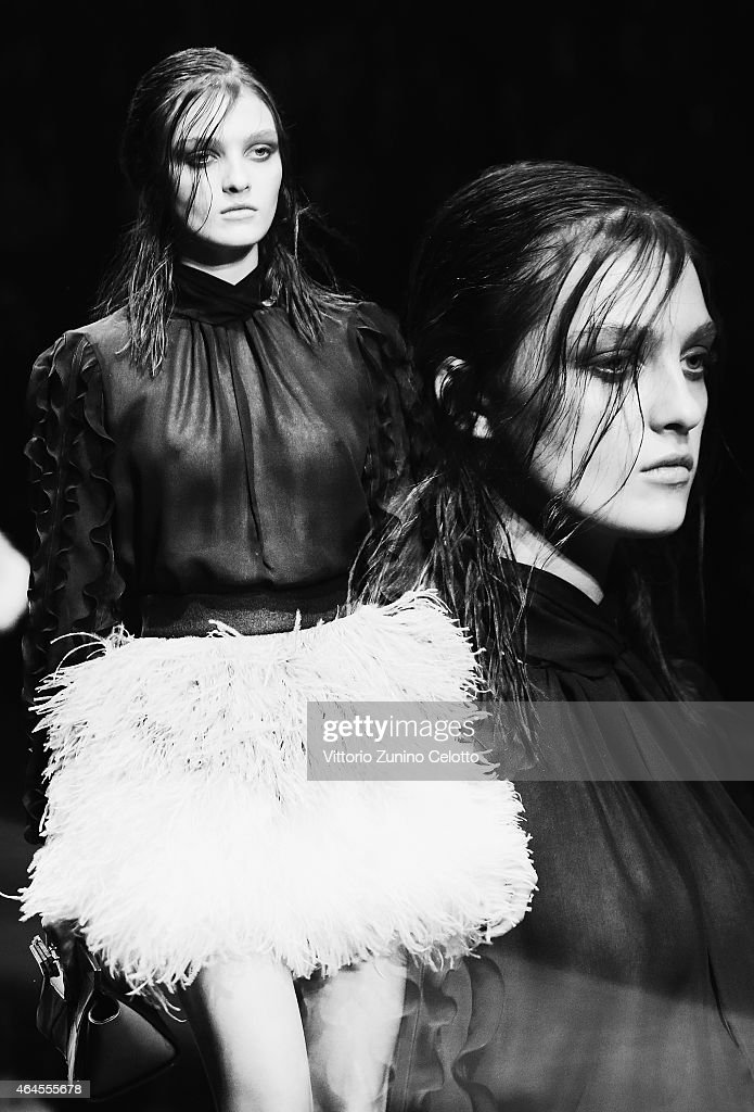 A model walks the runway at the Just Cavalli show during the Milan Fashion Week Autumn/Winter 2015 on February 26 2015 in Milan Italy
