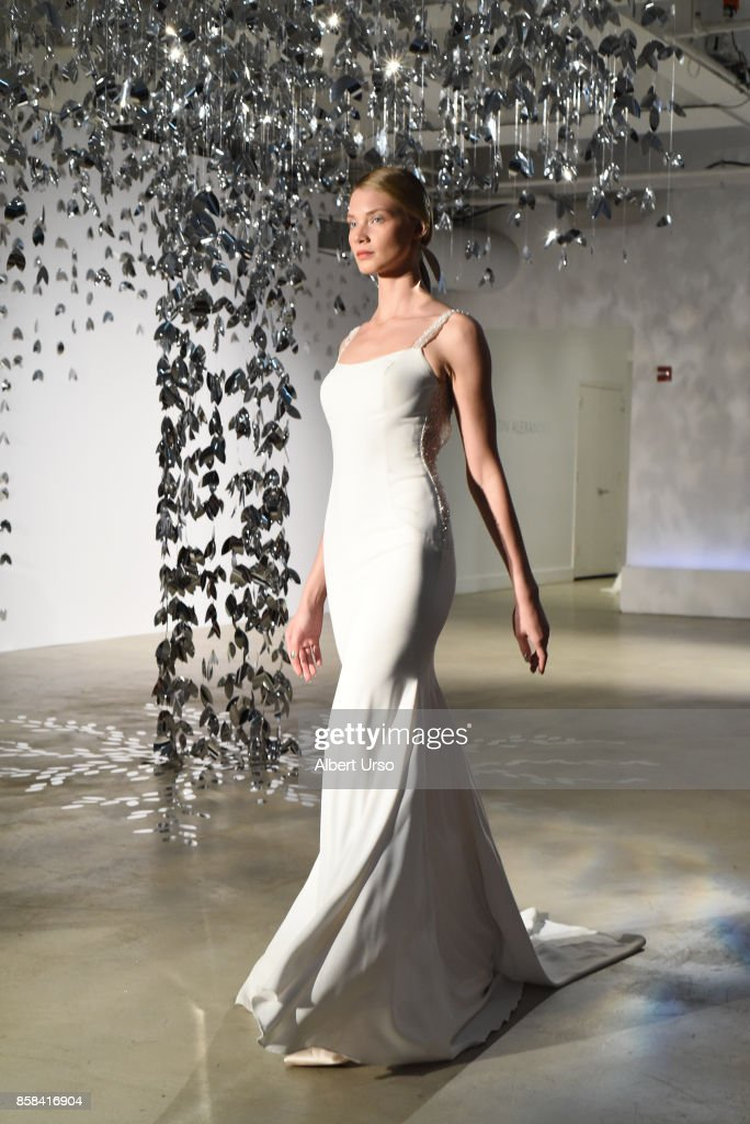 A model walks the runway at the Justin Alexander FW 2018 Bridal Show during New York Fashion Week Bridal at Venue 57 on October 6, 2017 in New York City.