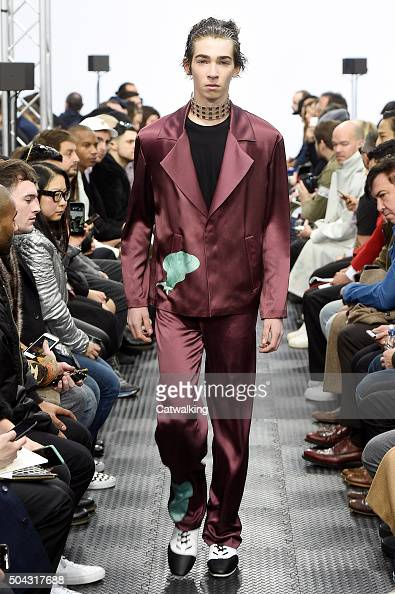 A model walks the runway at the JW Anderson Autumn Winter 2016 fashion show during London Menswear Fashion Week on January 10 2016 in London United...