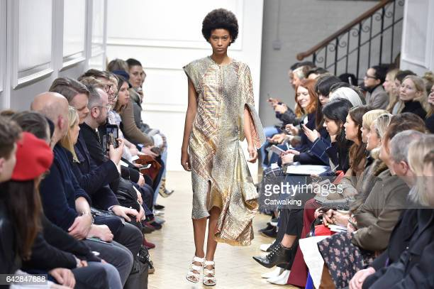 A model walks the runway at the JW Anderson Autumn Winter 2017 fashion show during London Fashion Week on February 18 2017 in London United Kingdom