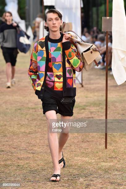 A model walks the runway at the JW Anderson SS18 show during 92 Pitti Immagine Uomo on June 14 2017 in Florence Italy