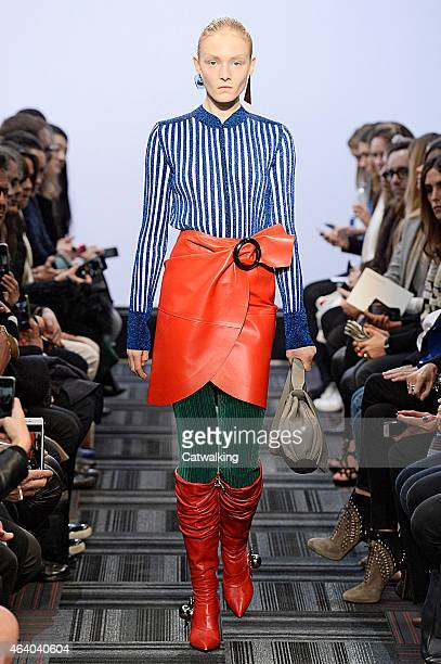A model walks the runway at the JWAnderson Autumn Winter 2015 fashion show during London Fashion Week on February 21 2015 in London United Kingdom