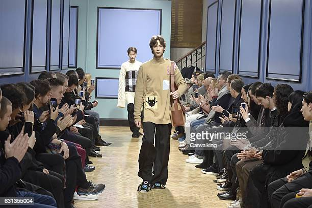 A model walks the runway at the JWAnderson Autumn Winter 2017 fashion show during London Menswear Fashion Week on January 8 2017 in London United...