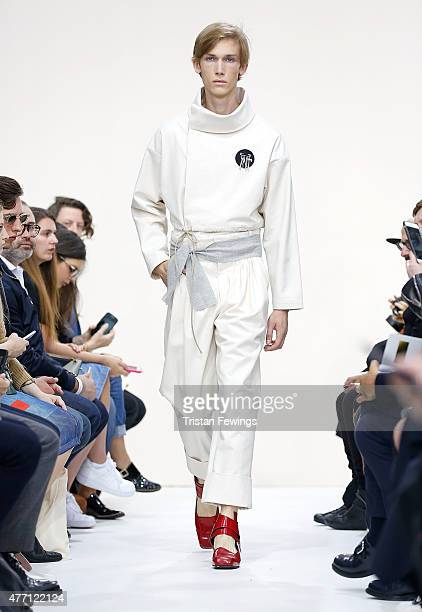 A model walks the runway at the JWAnderson show during The London Collections Men SS16 at Yeomanry House on June 14 2015 in London England