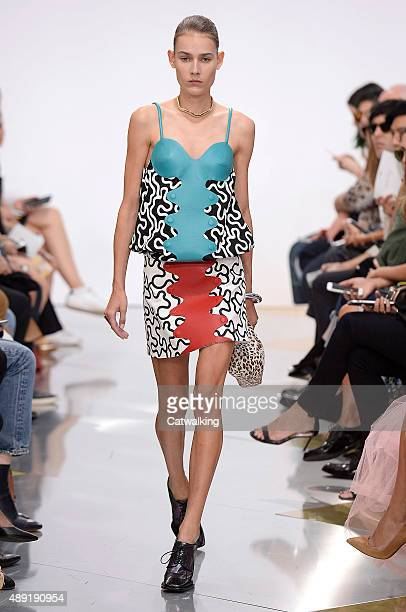 A model walks the runway at the JWAnderson Spring Summer 2016 fashion show during London Fashion Week on September 19 2015 in London United Kingdom