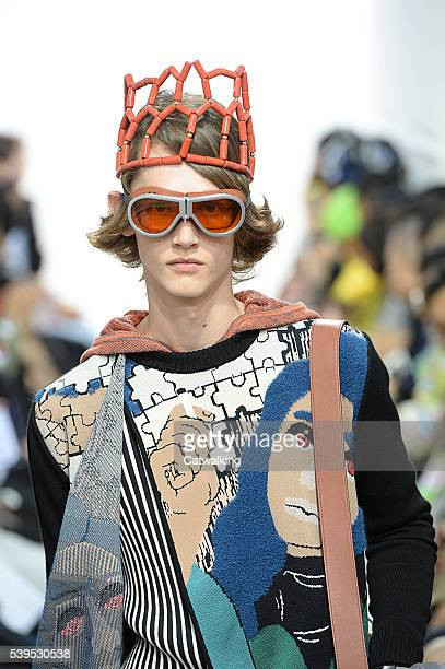 A model walks the runway at the JWAnderson Spring Summer 2017 fashion show during London Menswear Fashion Week on June 12 2016 in London United...