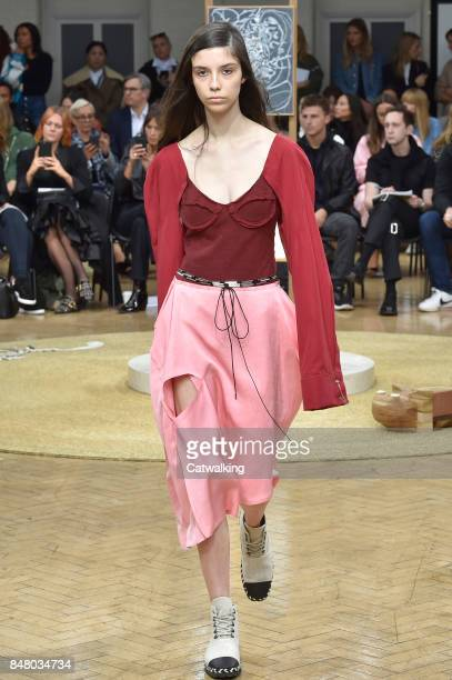 A model walks the runway at the JWAnderson Spring Summer 2018 fashion show during London Fashion Week on September 16 2017 in London United Kingdom