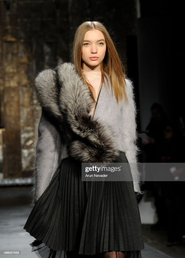 A model walks the runway at the Kaelen presentation during Mercedes-Benz Fashion Week Fall 2014 at Highline Stages on February 8, 2014 in New York City.