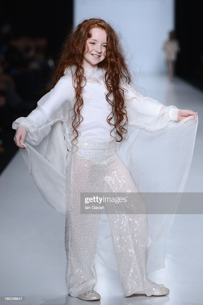 A model walks the runway at the Karchenkova And Bykovskaya show for Contrfashion Karchenkova during Mercedes-Benz Fashion Week Russia Fall/Winter 2013/2014 at Manege on April 2, 2013 in Moscow, Russia.
