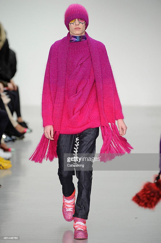 A model walks the runway at the Katie Eary Autumn Winter 2015 fashion show during London Menswear Fashion Week on January 12 2015 in London United...