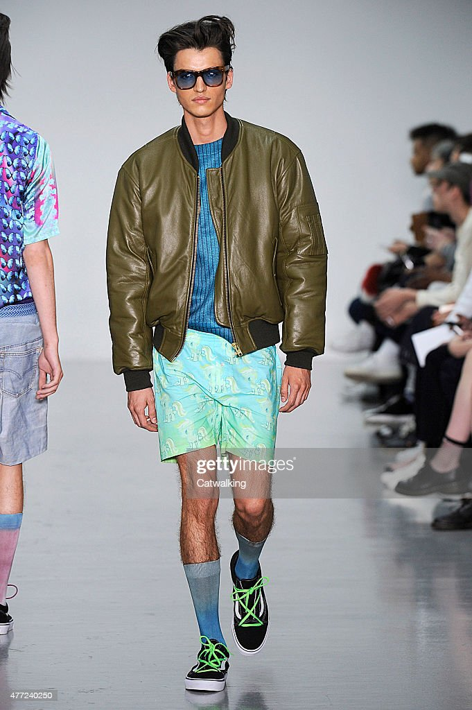 A model walks the runway at the Katie Eary Spring Summer 2016 fashion show during London Menswear Fashion Week on June 15 2015 in London United...