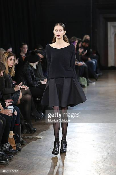 A model walks the runway at the Katie Gallagher fashion show during MercedesBenz Fashion Week Fall 2014 at The Highline Hotel on February 6 2014 in...
