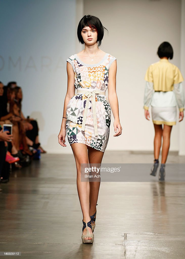 A model walks the runway at the Katty Xiomara show during Nolcha Fashion Week New York Spring/Summer 2014 presented by RUSK at Pier 59 Studio on September 11, 2013 in New York City.