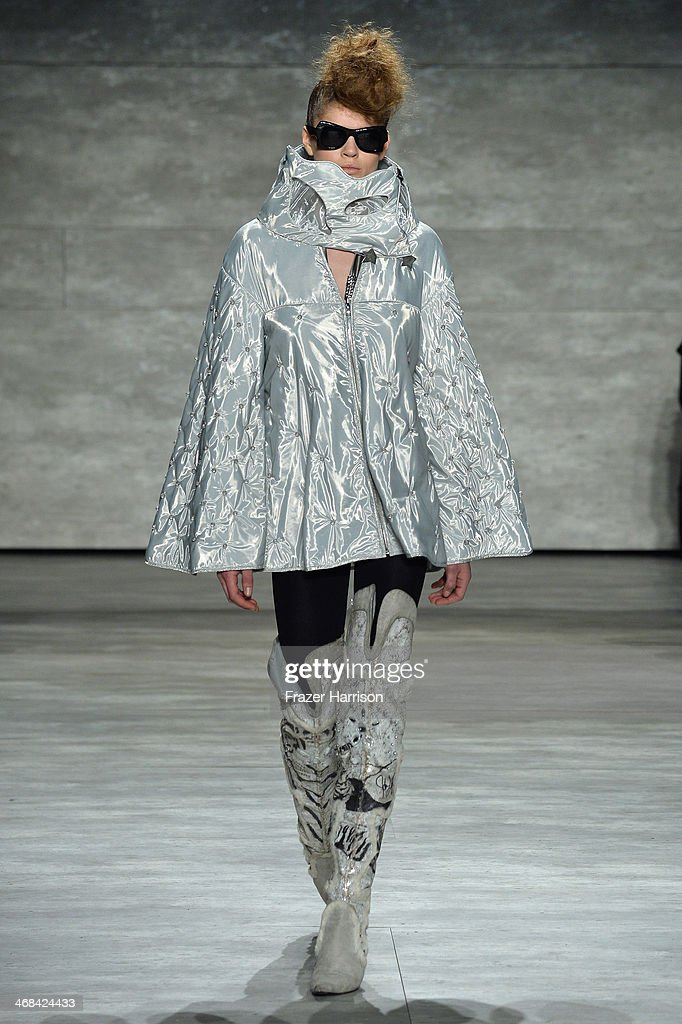 A model walks the runway at the Katya Leonovich fashion show during Mercedes-Benz Fashion Week Fall 2014 at Lincoln Center on February 10, 2014 in New York City.