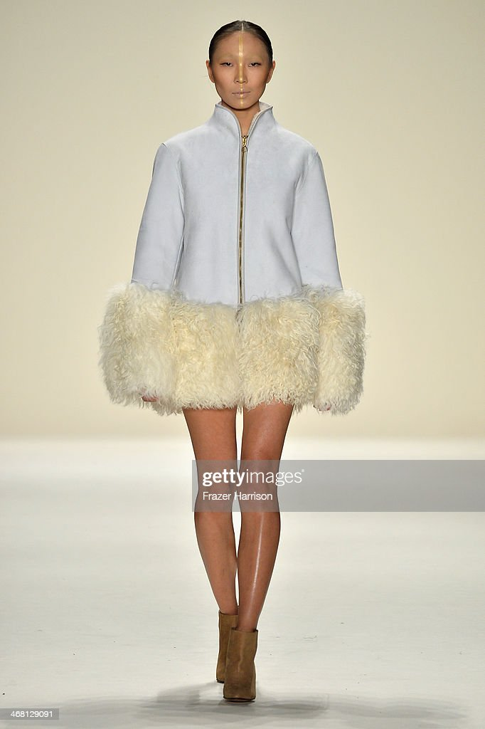 A model walks the runway at the Katya Zol fashion show during Mercedes-Benz Fashion Week Fall 2014 at The Theatre at Lincoln Center on February 9, 2014 in New York City.