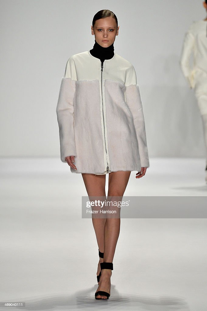 A model walks the runway at the Kaufmanfranco fashion show during Mercedes-Benz Fashion Week Fall 2014 at Lincoln Center on February 12, 2014 in New York City.
