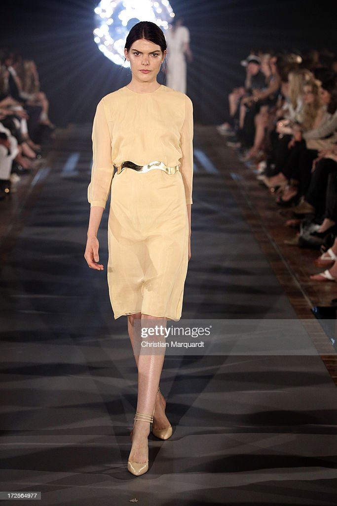 A model walks the runway at the Kaviar Gauche Show during Mercedes-Benz Fashion Week Spring/Summer 2014 at St. Agnes Church on July 3, 2013 in Berlin, Germany.