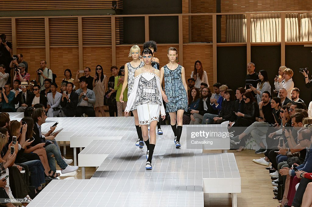 A model walks the runway at the Kenzo Spring Summer 2017 fashion show during Paris Menswear Fashion Week on June 25, 2016 in Paris, France.