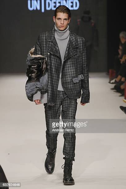 A model walks the runway at the Kevin Goetzelmann AMDFashionshow Exit17 show during Platform Fashion January 2017 at Areal Boehler on January 28 2017...