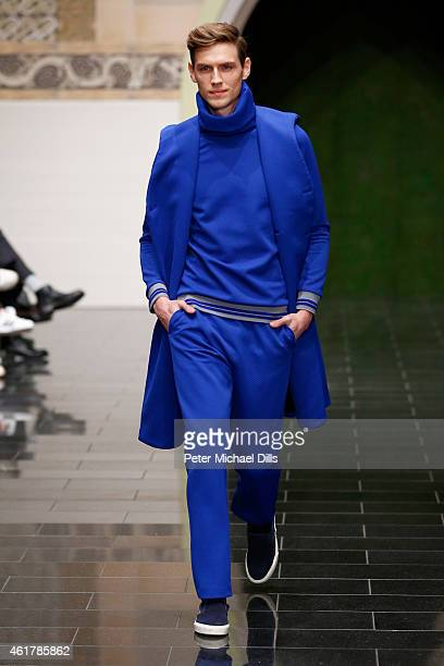 A model walks the runway at the Kilian Kerner show during the MercedesBenz Fashion Week Berlin Autumn/Winter 2015/16 at Kosmos on January 19 2015 in...