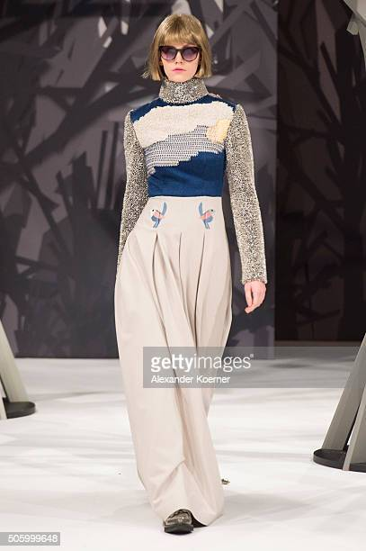 A model walks the runway at the Kilian Kerner show during the MercedesBenz Fashion Week Berlin Autumn/Winter 2016 at Ellington Hotel on January 20...
