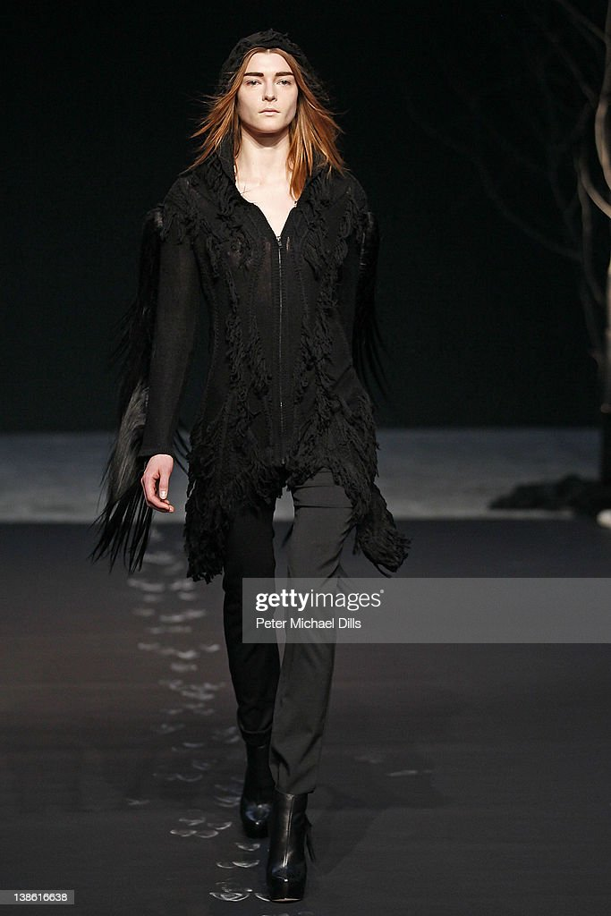 A model walks the runway at the Kimberly Ovitz fall 2012 fashion show during Mercedes-Benz Fashion Week at Pace Gallery on February 9, 2012 in New York City.