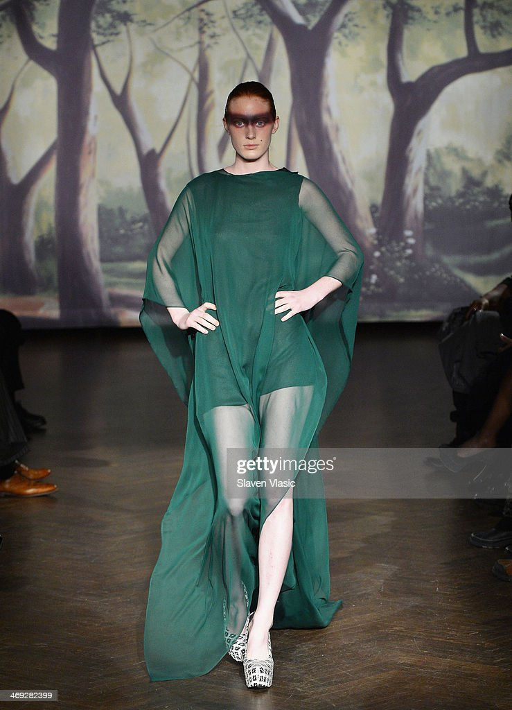 A model walks the runway at the Kithe Brewster fashion show during Mercedes-Benz Fashion Week Fall 2014 on February 13, 2014 in New York City.