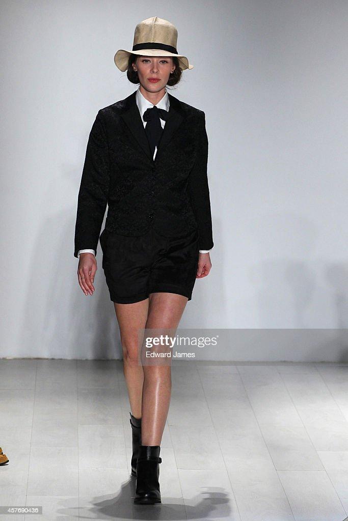 A model walks the runway at the Klaxon Howl Spring/Summer 2015 fashion show during World Mastercard Fashion Week at David Pecaut Square on October 22...