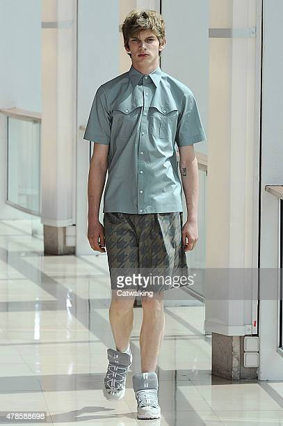 A model walks the runway at the Kolor Spring Summer 2016 fashion show during Paris Menswear Fashion Week on June 25 2015 in Paris France