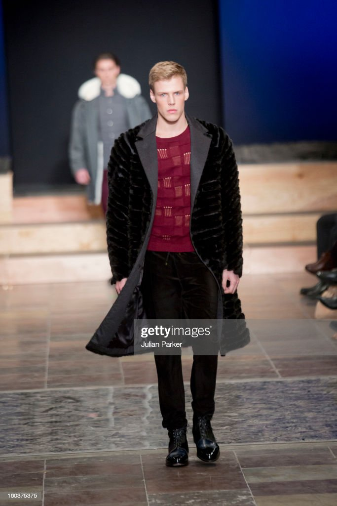 A model walks the runway at The Kopenhagen Fur show, presenting designs by Baartmans & Siegel from England during Day 1 of Copenhagen Fashion Week Autumn/Winter 2013 on January 30, 2013 in Copenhagen, Denmark.