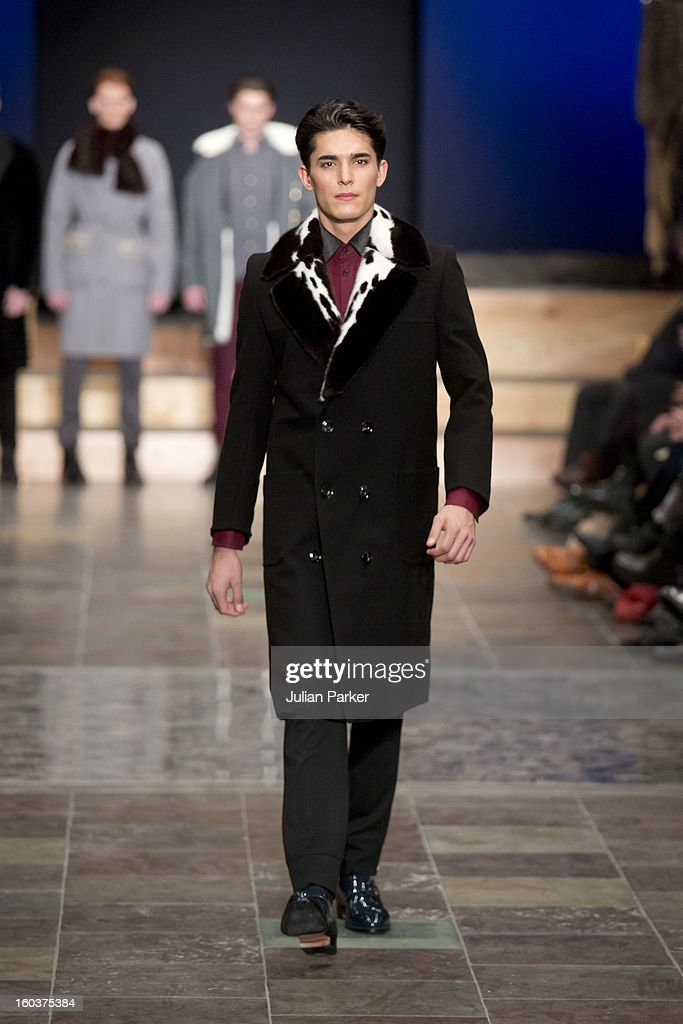 A model walks the runway at The Kopenhagen Fur show, presenting designs by Baartmans & Siegel from England during Day 1 of Copenhagen Fashion Week Autumn/Winter 2013 on January 30, 2013 in Copenhagen, Denmark.