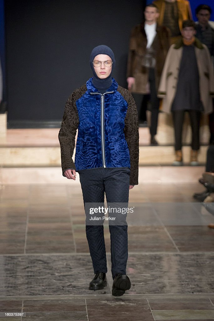 A model walks the runway at The Kopenhagen Fur show, presenting designs by Maison Christian Lacroix from France, during Day 1 of Copenhagen Fashion Week Autumn/Winter 2013 on January 30, 2013 in Copenhagen, Denmark.