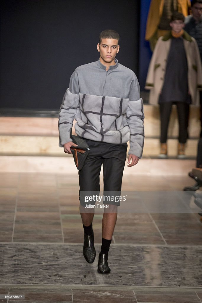 A model walks the runway at The Kopenhagen Fur show,presenting designs by Notting Hill from China during Day 1 of Copenhagen Fashion Week Autumn/Winter 2013 on January 30, 2013 in Copenhagen, Denmark.