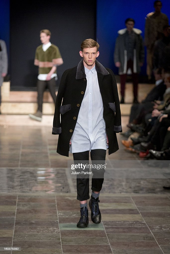 A model walks the runway at The Kopenhagen Fur show,presenting designs by Gaspard Yurkievich from France during Day 1 of Copenhagen Fashion Week Autumn/Winter 2013 on January 30, 2013 in Copenhagen, Denmark.