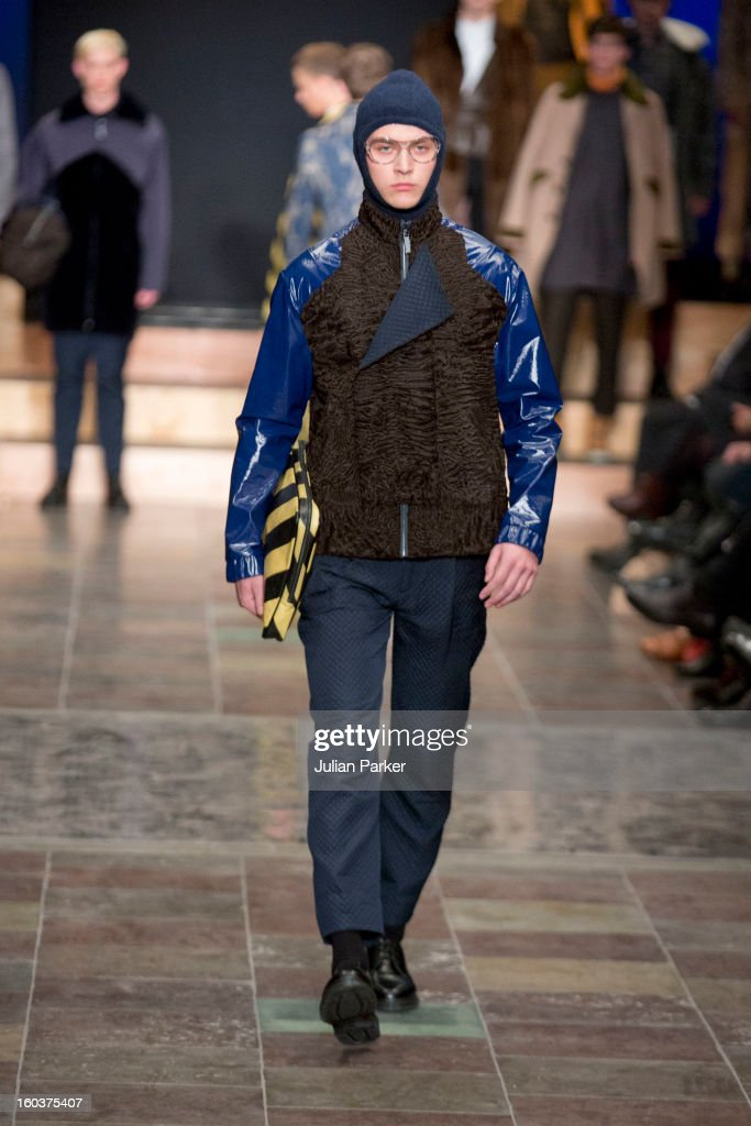 A model walks the runway at The Kopenhagen Fur show,presenting designs by Maison Christian Lacroix from France during Day 1 of Copenhagen Fashion Week Autumn/Winter 2013 on January 30, 2013 in Copenhagen, Denmark.