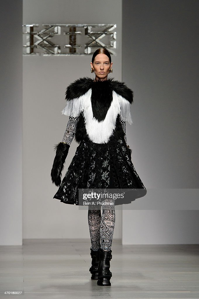 A model walks the runway at the KTZ show at London Fashion Week AW14 at Somerset House on February 18, 2014 in London, England.