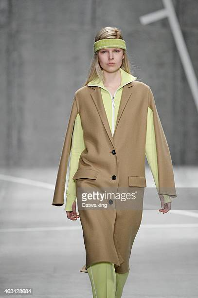 A model walks the runway at the Lacoste Autumn Winter 2015 fashion show during New York Fashion Week on February 14 2015 in New York United States