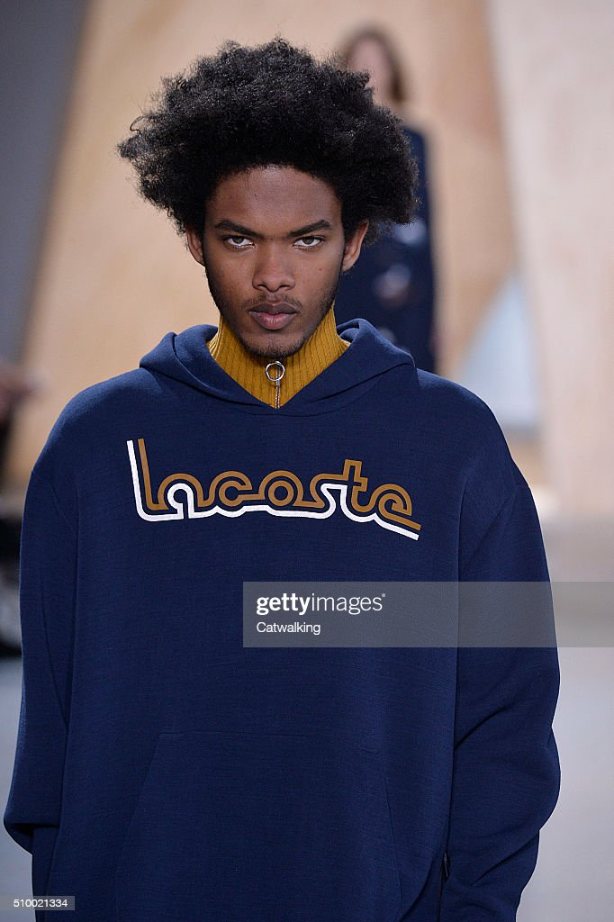 A model walks the runway at the Lacoste Autumn Winter 2016 fashion show during New York Fashion Week on February 13, 2016 in New York, United States.