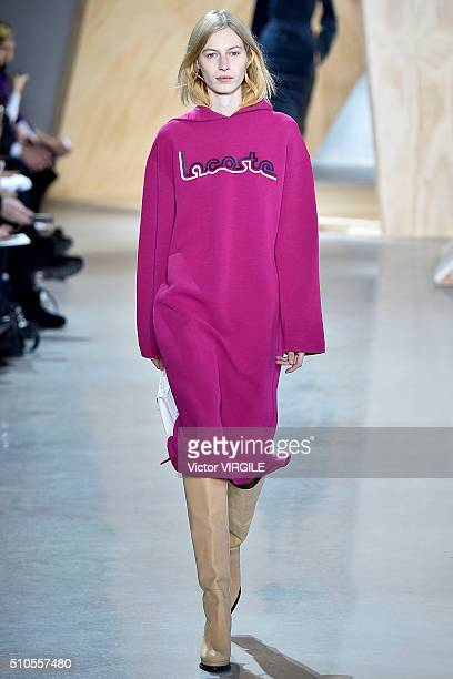 A model walks the runway at the Lacoste Fall/winter 2016 fashion show during New York Fashion Week at Spring Studios on February 13 2016 in New York...