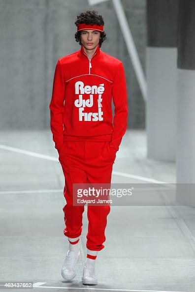 A model walks the runway at the Lacoste fashion show at The Theatre at Lincoln Center on February 14 2015 in New York City