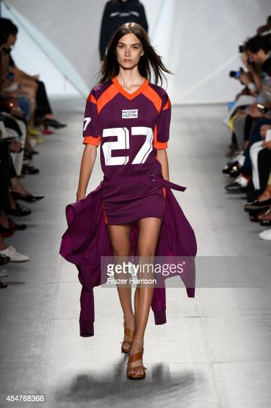 A model walks the runway at the Lacoste fashion show during MercedesBenz Fashion Week Spring 2015 at The Theatre at Lincoln Center on September 6...