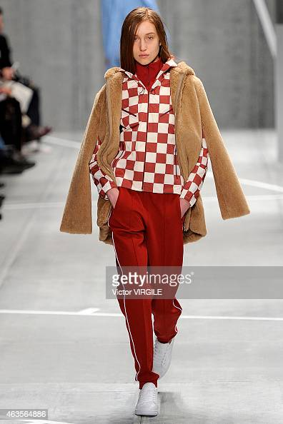 A model walks the runway at the Lacoste fashion show during MercedesBenz Fashion Week Fall 2015 at The Theatre at Lincoln Center on February 14 2015...