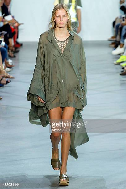 A model walks the runway at the Lacoste Spring Summer 2016 during the New York Fashion Week on September 12 2015 in New York City