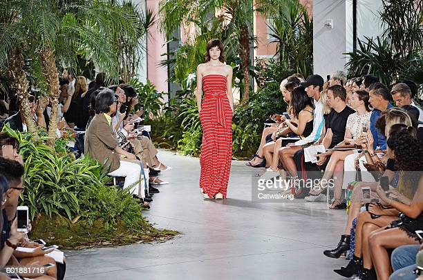 A model walks the runway at the Lacoste Spring Summer 2017 fashion show during New York Fashion Week on September 10 2016 in New York United States