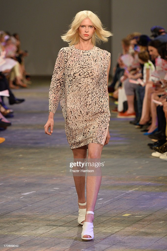 A model walks the runway at the Lala Berlin Show during Mercedes-Benz Fashion Week Spring/Summer 2014 at Opernwerkstaetten on July 4, 2013 in Berli