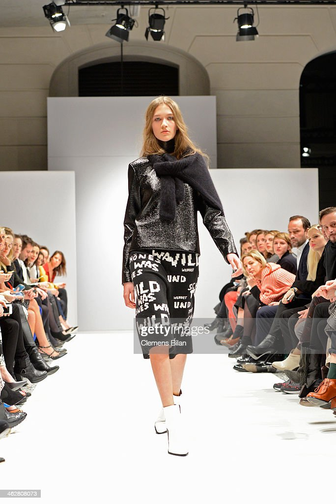 A model walks the runway at the Lala Berlin show during MercedesBenz Fashion Week Autumn/Winter 2014/15 at Palazzo Italia on January 15 2014 in...